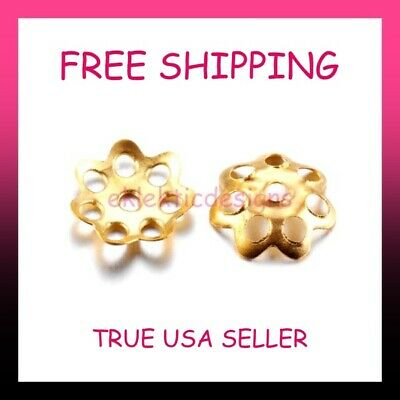 200pcs 6mm Gold Plated 7P Flower Bead Caps Jewelry Findings Earrings Necklace