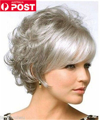 Popular Women Short Silver Grey Curly Cosplay Party Heat Resistant Hair Full Wig