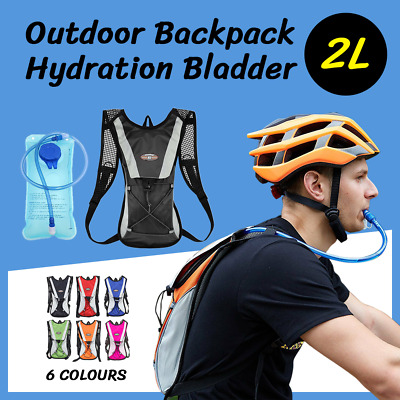 Hydration Pack + 2L Water Bag Hiking Camping Bicycle Backpack Bladder Cycling