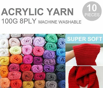 10 x KNITTING WOOL Super Soft Acrylic Crochet Ball Yarn 100g 8Ply BULK