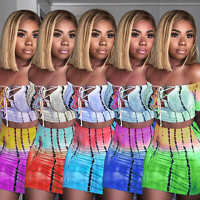 Women off shouder lace up bodycon club party casual mini dress 2pc