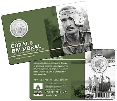 2018 -Coral & Balmoral - Battle of the Fire Support Bases (RAM carded 50c coin)