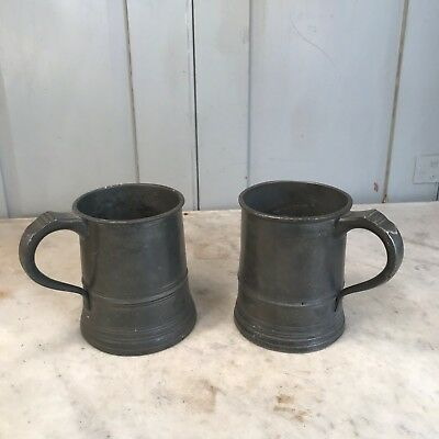 Couple of antique Pewter pint tankards