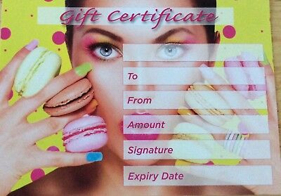 beauty Salon blank gift vouchers x15 plus complimentary envelopes yellow/yellow.