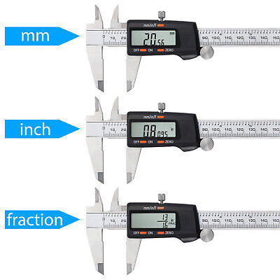 200mm Electronic Digital Vernier mm/ inch/ F Caliper Measurement Stainless Steel