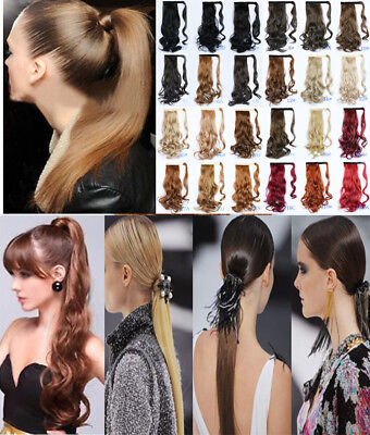 """Human Hair Wrap Ponytail Clip in Pony Tail Hair Extensions Hair Wigs Long 18"""""""