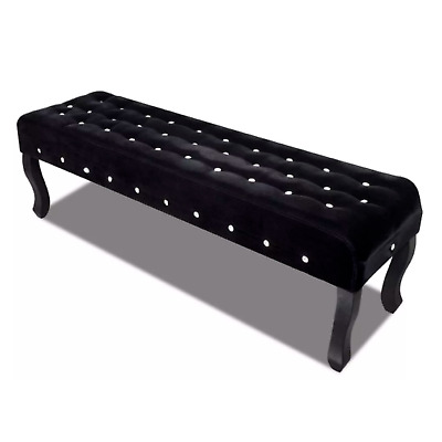 New Black Bench Velvet Fabric with Crystal Buttons 160cm Padded Sofa Wooden Seat