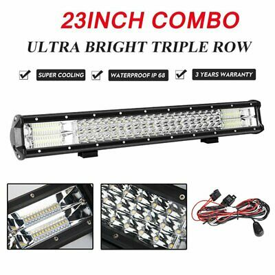 23Inch CREE LED Light Bar Flood Spot Combo Offroad Driving Lamp 4WD 4x4 Tri-Row