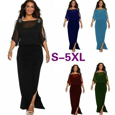 Plus Size Womens Cold Shoulder Chiffon Evening Party Casual Formal Maxi Dress