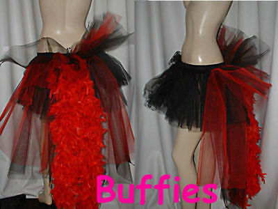 af1c6167d2 Ladies Tutu bustle Tulle & Feathers Fairy Burlesque dancer festival Black  White