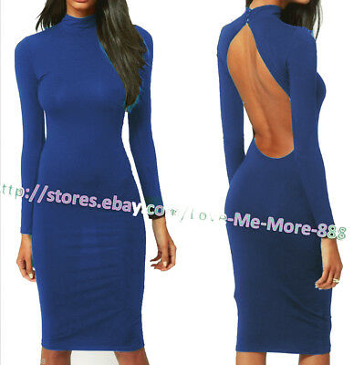 Hot Sexy Womens Backless Club Party Casual Long Sleeves Polyester Dress Blue XL