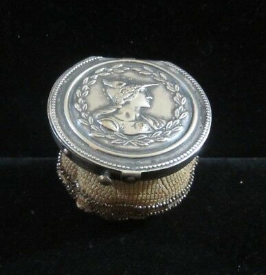 Antique Art Nouveau Ladies Steel Beaded Tam O'Shanter Coin Purse Silverplate Lid