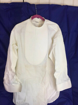 Vintage Mens Front Starched Boiled tunic dress shirt size 16/33 Manhattan