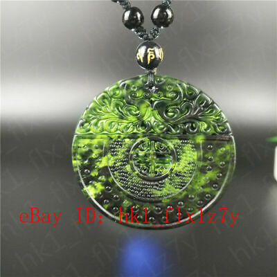 Fashion Natural Black Green Jade Chinese Dragon Pendant Necklace Carved Jewelry