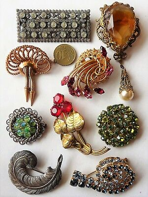 Antique Vintage Jewels Brooch's / Beau Lot De Bijoux Anciens Broches Fantaisie