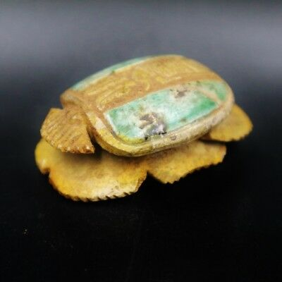 Ancient Egyptian Glazed Stone Scarab Beetle Amulet Figurine, NEW KINGDOM 1400 BC