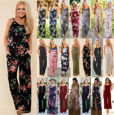 Plus Size 6-20 Boho Womens Floral Holiday Long Playsuits Dress Trouser Jumpsuit