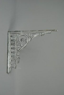Large Vintage Victorian style Cast Iron Wall Shelf Bracket White Grey