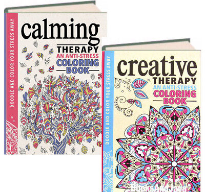 Calming & Creative Therapy : 2 Anti-Stress Coloring Books (2015, Hardcover)