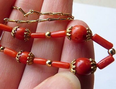 Antique Red Coral Beads Necklace / Bijou Ancien Collier Perles De Corail Rouge