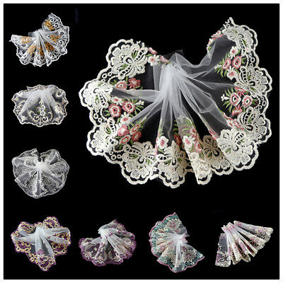 2 Yards Fabric Floral Tulle Lace Trim Embroidered Lace Ribbon Sewing DIY Craft