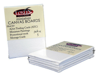 """Loxley Miniature Cotton Canvas Boards 89 x 63mm / 3.5 x 2.5 """" Pack of 5"""