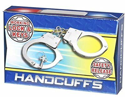 TWO Pairs Kids Toy Metal Handcuffs with Key & Safety Release Switch Fancy Dress