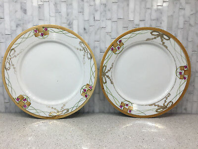 ANTIQUE TE-OH NIPPON CHINA Set of 2 Handpainted 7.5\