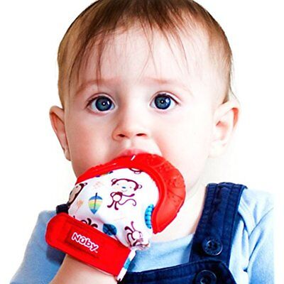 Baby Teething Hygienic Soothing Toddler Mittens Soft Silicone Travel Bag Nuby