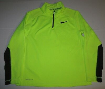 new concept 9b270 5c2eb BOYS NIKE THERMA-FIT 1/4 Zipper Pullover Sweater Youth XL XLarge Neon Yellow