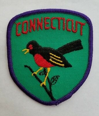 Vtg CONNECTICUT State Souvenir Travel Patch With Robin State Bird NOS From USA