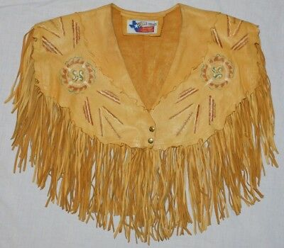 Vintage Belle Starr's Bootique Houston Texas Western Wear Fringed Leather Shawl