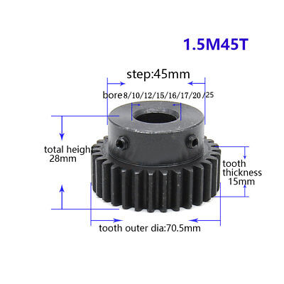 1.5Mod 45T Spur Gear With Step Black Oxide Tooth Thickness 15mm Bore 8-25mm