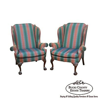 Kindel Winterthur Collection Chippendale Mahogany Ball & Claw Pair Wing Chairs