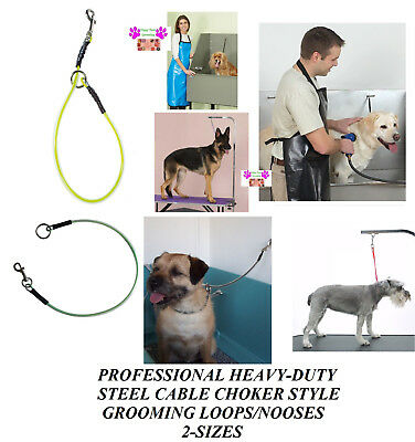 STEEL CABLE CHOKER Choke NOOSE RESTRAINT LOOP For Grooming Table Arm,Tub,Bath