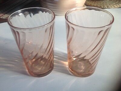 2 Arcoroc Rosaline Tumblers France sold as is