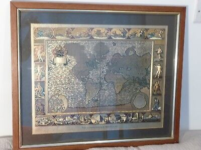Vintage framed reproduction antique world map gold foil print moses vintage framed reproduction antique world map gold foil print moses pitt 1681 gumiabroncs Choice Image