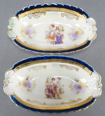 Pair of Royal Vienna Style Classical Women With Aulos Pipe Cobalt Relish Dishes