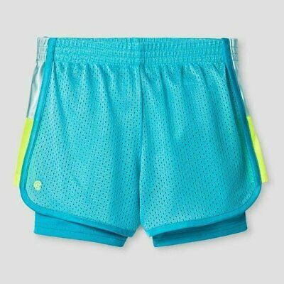 C9 Champion Girl's 2-in-1 Mesh Shorts - Turquoise & Yellow - Pick Size