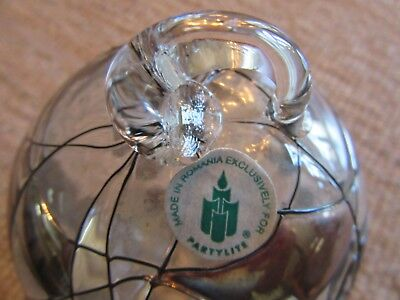 Partylite Clear Glass Silver Red Gold Swirl Globe Ball Christmas Ornament RARE