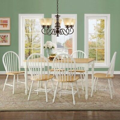 Dining Set 7 Piece Table 6 Chairs Home Country Furniture White Oak Solid Wood