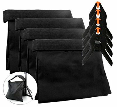 8-Piece Set Photography Sand Bags W/ Clips (4 Bags, 4 Clips); Saddlebag Design S