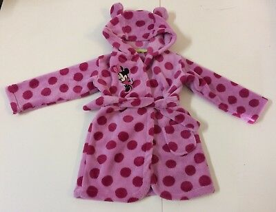 Disney Minnie Mouse Dressing Gown 12-18 Months Pink Polka Dot