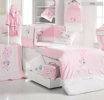 DELUXE COTTON NURSERY COT SET Pink Girl 6 Piece Bedding Set Fitted Quilt