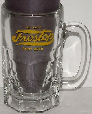Vintage glass mug ICY COLD FROSTOP ROOT BEER yellow logo large size n-mint cond