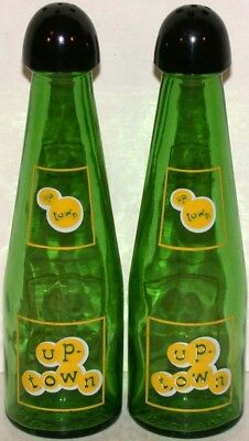 Vintage salt and pepper shakers UP TOWN soda pop glass bottles with caps n-mint