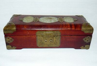 Vintage Shanghai Jewelry Box Jade Inlay Turquoise Fabric Lined Ring Holder