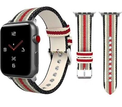 44743077f9e Apple Watch Band Strap Gucci Pattern Sport Replacement Leather Band 42mm  iWatch