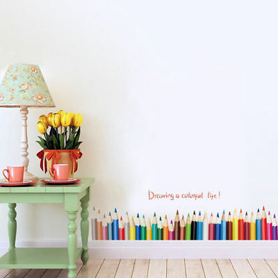 Drawing a Colorful Life Pencil Kids Child Room Wall Sticker Decals