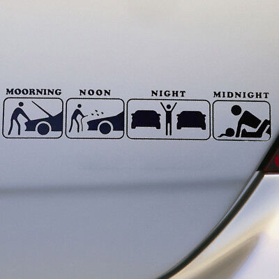 Funny Creative Car Decals Sticker PET Decal Morning Noon Night JDM Funny Life